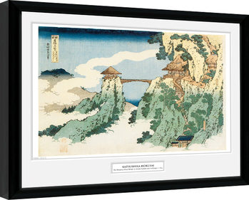 Poster Emoldurado Hokusai - The Hanging Cloud Bridge