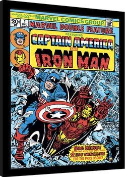 Poster Emoldurado Marvel Comics - Captain America and Iron Man