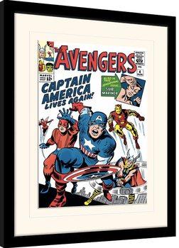 Poster Emoldurado Marvel Comics - Captain America Lives Again