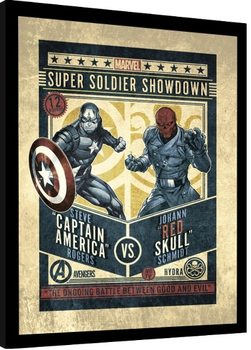 Poster Emoldurado Marvel Comics - Captain America vs Red Skull