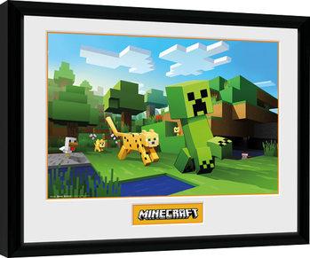 Poster Emoldurado Minecraft - Ocelot Chase