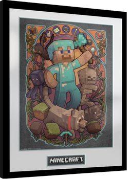 Poster Emoldurado Minecraft - Steve Nouveau