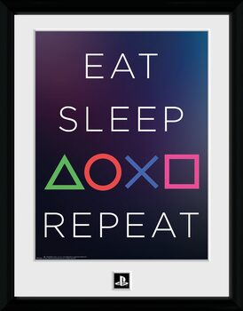 Poster Emoldurado Playstation - Eat Sleep Repeat