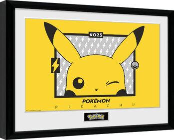 Poster Emoldurado Pokemon - Pikachu wink
