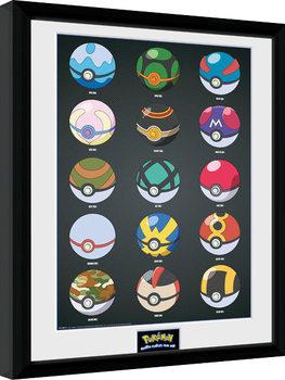 Poster Emoldurado Pokemon - Pokeballs