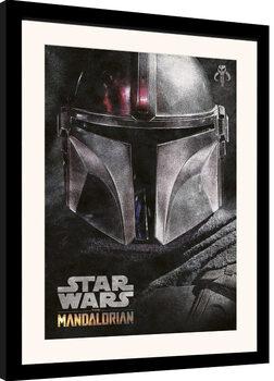 Poster Emoldurado Star Wars: The Mandalorian - Helmet