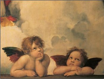 Raphael Sanzio - Sistine Madonna, detail - Cherubs, Angels 1512 Reproduction d'art