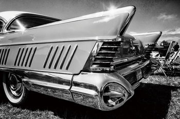 Tableau sur verre Cars - Black and White Cadillac