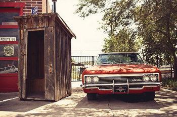 Tableau sur verre Cars - Red Cadillac