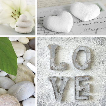 Tableau sur verre Love - White Collage