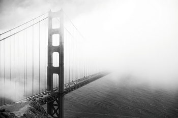 Tableau sur verre San Francisco - Golden Gate in Mist