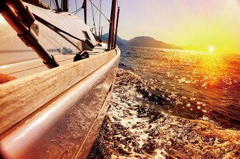 Tableau sur verre Sea - Boat on the Sunny Sea