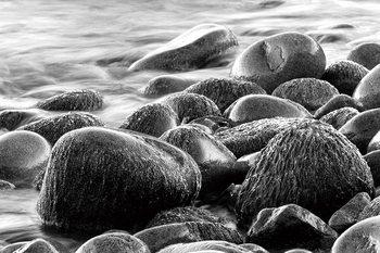 Tableau sur verre Sea - Grey Stones