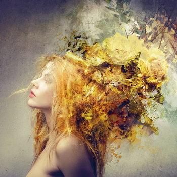 Tableau sur verre Woman - Nature