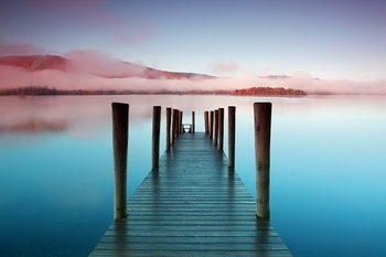 Tableau sur verre Wooden Landing Jetty - Colored Bay