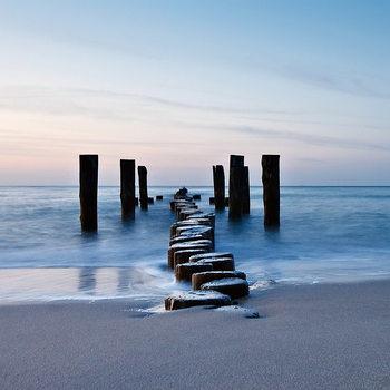 Tableau sur verre Wooden Path into the Sea