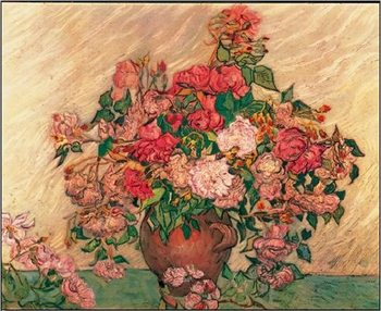 Vase with Pink Roses, 1890 Taide