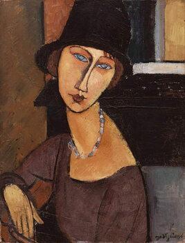 Tela Jeanne Hebuterne wearing a hat