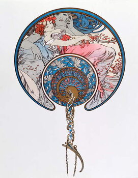 Tela The Passing Wind Wars Youth Lithography by Alphonse Mucha  1899 - Dim 45,5x 62 cm Private collection