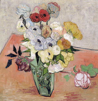 Tela  Japanese Vase with Roses and Anemones, 1890