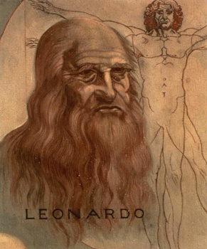 Tela Portrait of Leonardo da Vinci with his `Vitruvian Man'