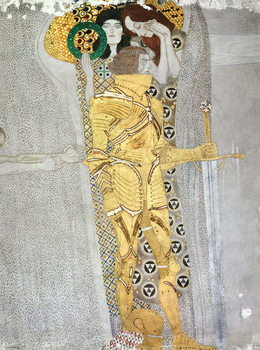 Tela The Knight detail of the Beethoven Frieze, said to be a portrait of Gustav Mahler (1860-1911), 1902