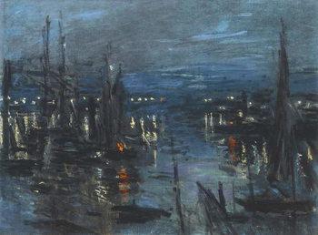 Tela The Port of Le Havre, Night Effect; Le Port de Havre, effet du Nuit, 1873