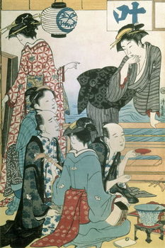 Tela  Women of the Gay Quarters, left hand panel of a diptych (colour woodblock print)