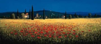 TUSCAN PANORAMA - POPPIES Reproduction d'art