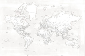 Valokuvatapetti Almost white detailed world map
