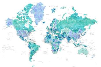 Valokuvatapetti Aquamarine and blue watercolor detailed world map