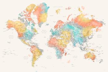 Valokuvatapetti Detailed colorful watercolor world map, Fifi