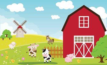 Valokuvatapetti Dormitorio de dibujos animados de la granja