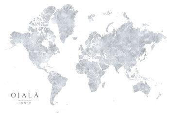 Valokuvatapetti Grayscale watercolor world map, I hope so