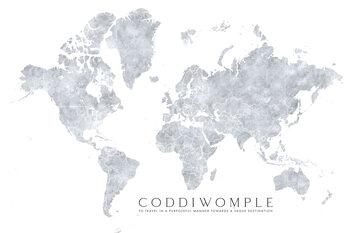 Valokuvatapetti Grayscale watercolor world map, purposeful travels