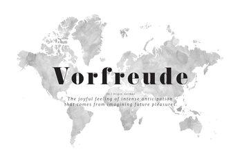 Valokuvatapetti Joyful travel anticipation world map