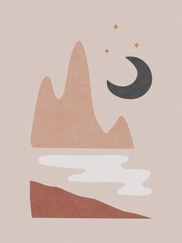 Valokuvatapetti Landscape & Moon