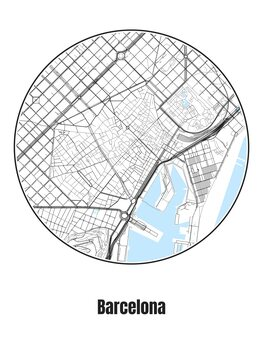 Valokuvatapetti Map of Barcelona