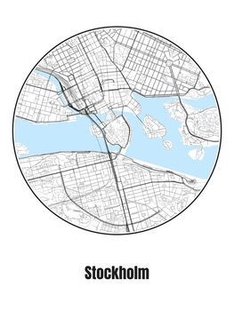Valokuvatapetti Map of Stockholm