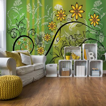 Valokuvatapetti Modern Floral Design With Swirls Green And Yellow