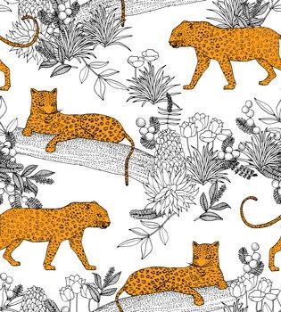Valokuvatapetti Serengeti Leopards - White