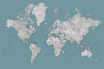 Valokuvatapetti Teal and grey detailed watercolor world map with cities, Urian