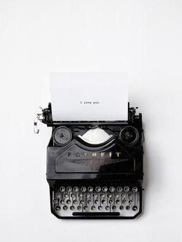 Valokuvatapetti type writer i love you