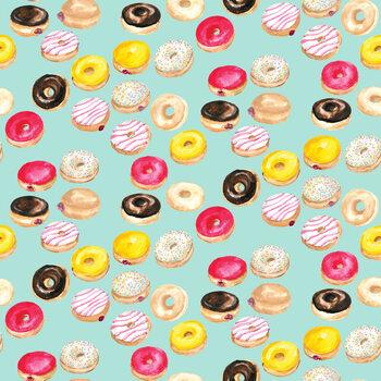 Valokuvatapetti Watercolor donuts in mint