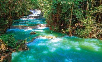 Valokuvatapetti Waterfalls Trees Forest Nature