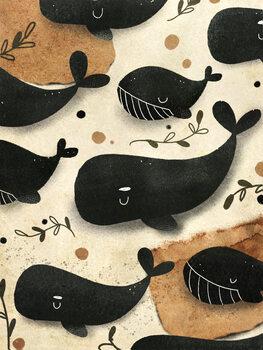 Valokuvatapetti Whale Family