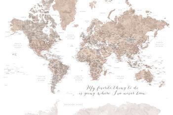 Valokuvatapetti Where I've never been, neutrals world map with cities