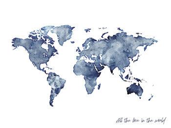 Valokuvatapetti Worldmap blue watercolor