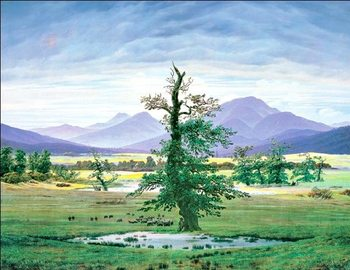 Village Landscape in Morning Light - The Lone Tree, 1822 Reproduction d'art