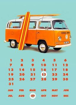 VW BAY WINDOW KOMBI CALENDAR Plaque métal décorée